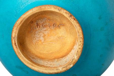 "Edwin Scheier, ""Covered Pot with Fish"", circa late 1980s, ceramic, glaze, 15 x 10 x 10"""