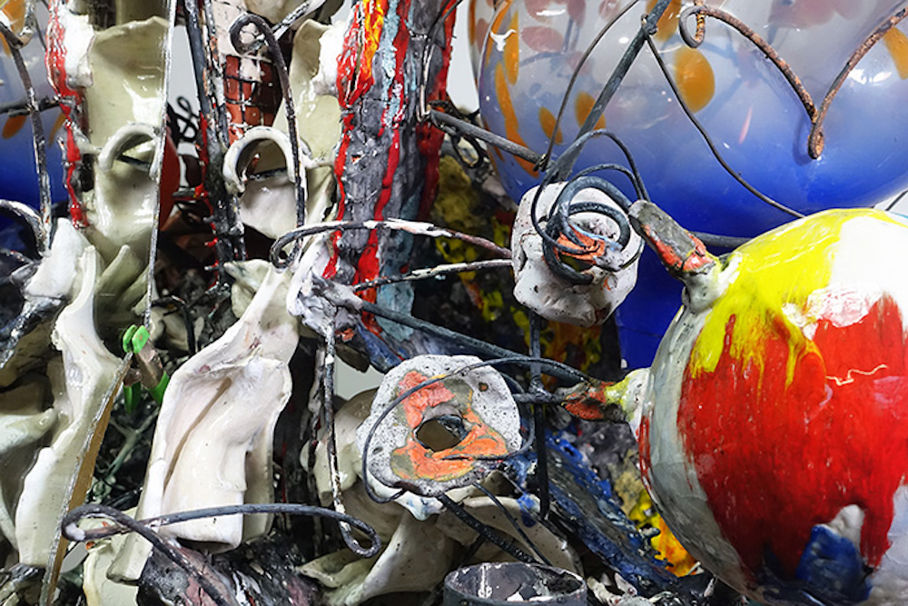 "Raymon Elozua, Tri-Harmonic S.3, 2018-19, terra cotta, steel, hand blown glass and mirror, 33 x 32 x 36"""