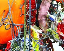 "Raymon Elozua, ""Tri-Harmonic S.2"", 2018-19 04 Terra cotta, steel, hand blown glass, and mirror (detail)"