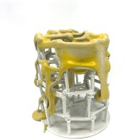 """Peter Christian Johnson, """"Scaffolded Vessel in Yellow"""", 2020, porcelain, 8.5 x 7.5 x 7.5"""""""