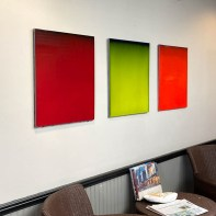 """Bobby Silverman, """"Untitled Triptych"""", 2014, re-fired commercial porcelain tile, 120 x 28 x 1.5"""""""