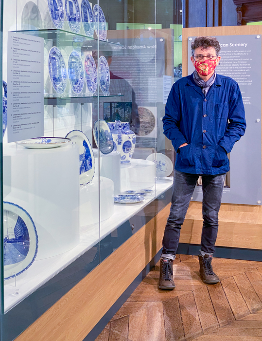 Paul Scott by the main display case of his 'New American Scenery' installtion at the Bowes Museum, Barnard Castle, September 2020.