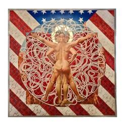 """Kukuli Velarde, """"Speak Spanish, Yo Hablo Inglés"""", 2021, oil on stretched canvas and wood panel substrate, mounted on 7 aluminum panels, 96 x 96""""."""