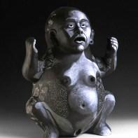 """Kukuli Velarde, """"Yo misma Soy"""", 1997-2006, low-fire clay, underglazes, 21 x 15 x 10""""."""