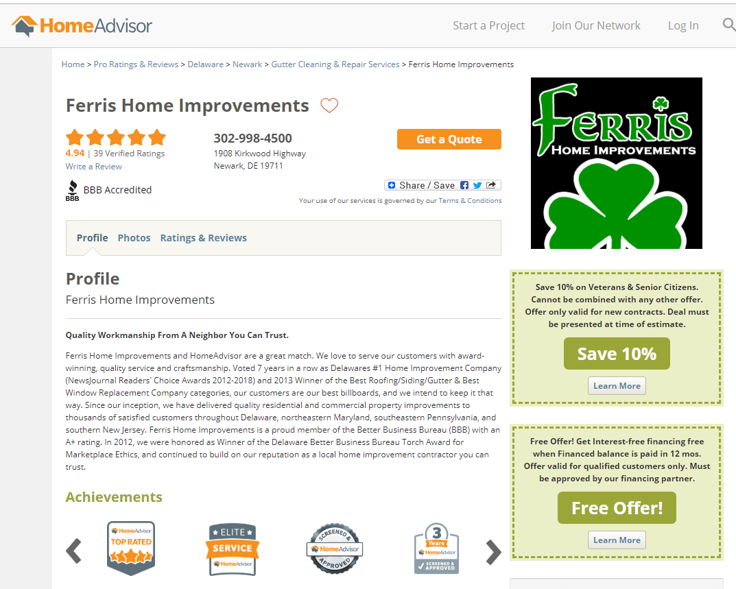 home advisor reviews ferris home improvements
