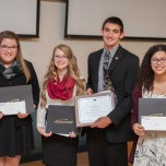 Top four finalists: Paige Kramer, Caitlyn Bailey, Connor Pilmore, Megan Polisuk-Balfour (Photo courtesy of FSU SmugMug)