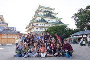 Group shot in front of Japanese architecture. Courtesy of Honors student, Garrett McCarthy.