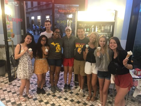Jordan Dawkins and friends with gelato. Courtesy of Honors student, Jordan Dawkins.