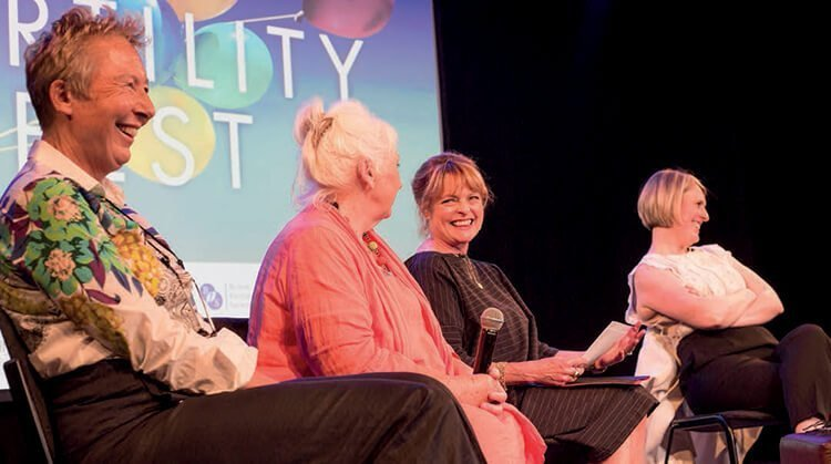 TV Presenter Janet Ellis interviews Jessica and some of the women from her book at the 21 Miles book launch.