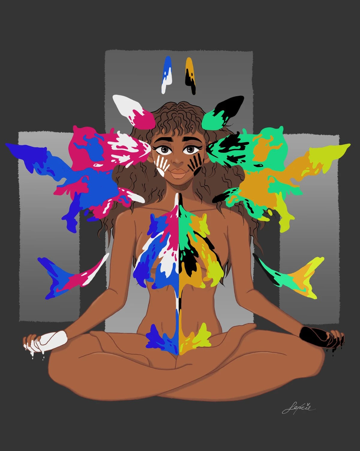 A digital illustration of a nude, young woman with brown skin sitting cross legged against a dark gray background with four gray squares behind her. The woman has curly brown hair and is smiling. Each of her hands are covered in black and white paint, which she has used to paint hand prints onto her face and body. The paint also extends beyond the woman and resembles a rorschach inkblot or butterfly wings. The paint is in shades of black, white, primary blue, fuschia, mint green, pumpkin orange, and yellow-green.