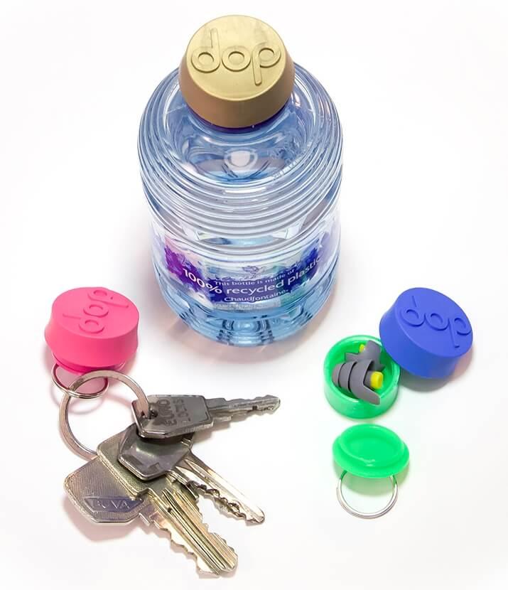 Festivaldop totaal: inclusief oordoppen, universele waterdop en opbergruimte, handig aan een sleutelhanger.