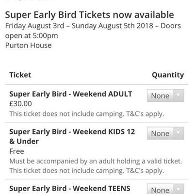 Tickets selling well remember only a limit number of super early bird ticked ava...