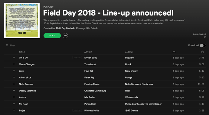 The Field Day 2018 Spotify playlist is here! ...