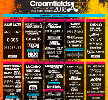 #Creamfields2018 - The worlds biggest electronic line up ...