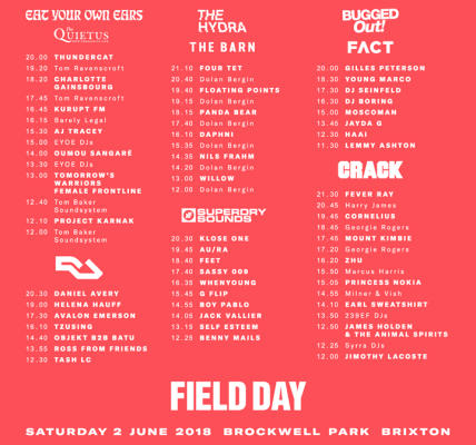 Your Saturday stage times are here ️  #fd2018...