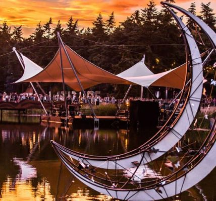 Relaxing by The Waterfront Stage as the sun sets at Latitude Festival