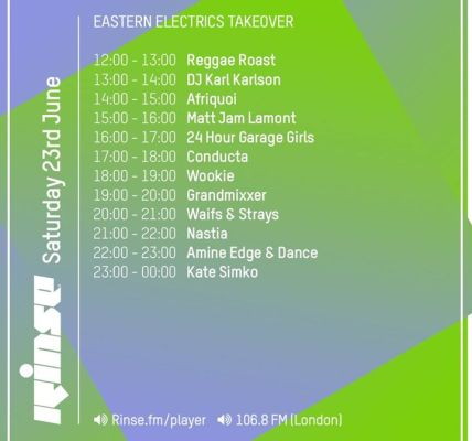 Here's our schedule for the day, rolling live on Rinse FM til Midnight. First up...