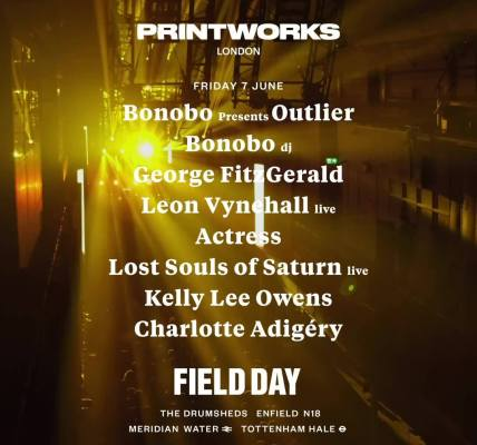 Printworks stage at Field Day 2019