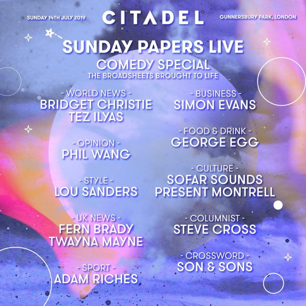 Citadel favourites Sunday Papers Live are back for our 2019 edition and this tim...