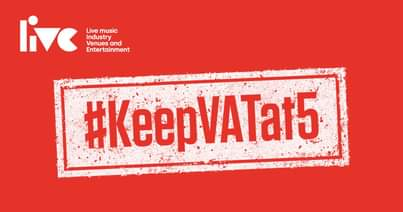 """May be an image of text that says """"live Live music Industry Venues and Entertainment #KeepVATat5"""""""