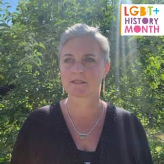"""May be an image of 1 person, tree, outdoors and text that says """"LGBT+ HISTORY O MONTH"""""""