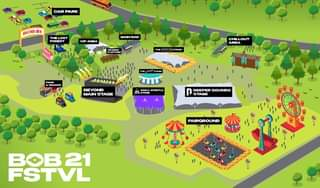 "May be a cartoon of text that says ""CAR PARK BOB21 LOST FOREST VIP AREA MAIN BAR PLATFOR THE CHILL OUT AREA FOOD SNACKS BEYOND MAIN STAGE STAGE Iா PRETA STAGE WHISTLE DEEPER SOUNDS STAGE FAIRGROUND å賽 BOB21 FSTVL"""