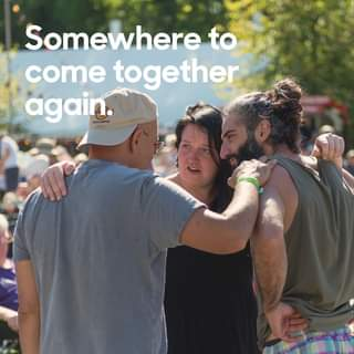 "May be an image of 2 people, people standing, outdoors and text that says ""Somewhere to come together again."""