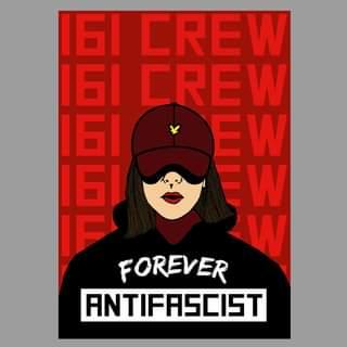 "May be a cartoon of text that says ""I6I CREW I6I CREW I6I EW 16I W IF W FOREVER ANTIFASCIST"""
