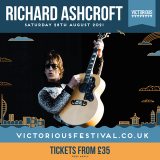 """May be an image of 1 person, playing a musical instrument, guitar and text that says """"RICHARD ASHCROFT SATURDAY 28TH AUGUST 2021 VICTORIOUS DAAA٧ VICTORIOUS VICTORIOUSFESTIVAL.CO.UK TICKETS FROM £35 FEES APPLY"""""""