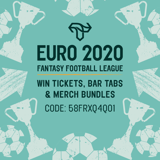 """May be an image of text that says """"D EURO 2020 FANTASY FOOTBALL LEAGUE WIN TICKETS, BAR TABS & MERCH BUNDLES CODE: 58FRXQ4Q01 中"""""""