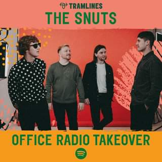 """May be an image of 3 people, people standing and text that says """"D TRAMLINES THE SNUTS OFFICE RADIO TAKEOVER"""""""