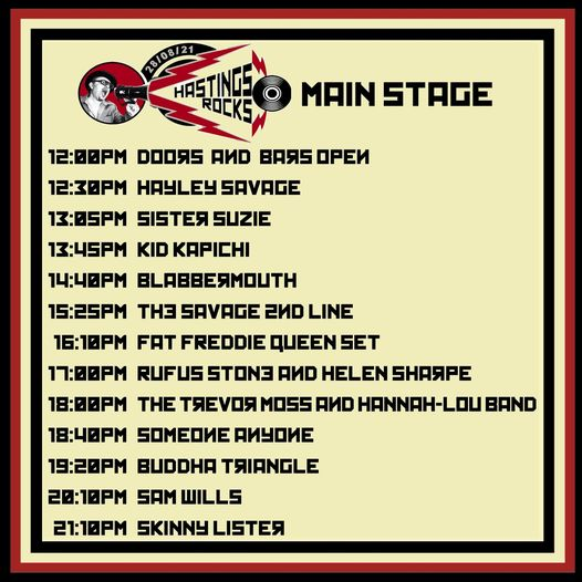 Tomorrows main stage running order!...