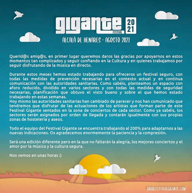 Comunicado 24 agosto 2021 festival gigante