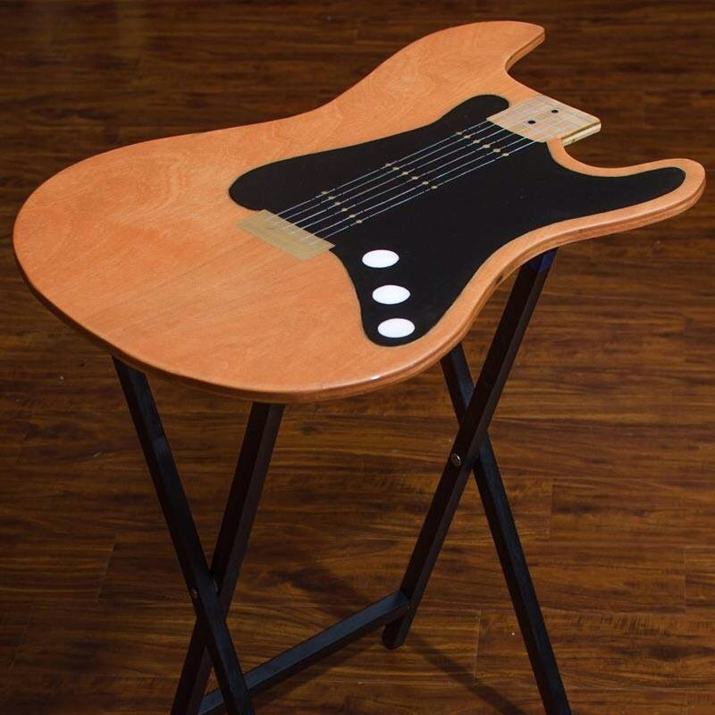 guitar shaped chair oversized reading tv fold up tables rock n designs painted colored