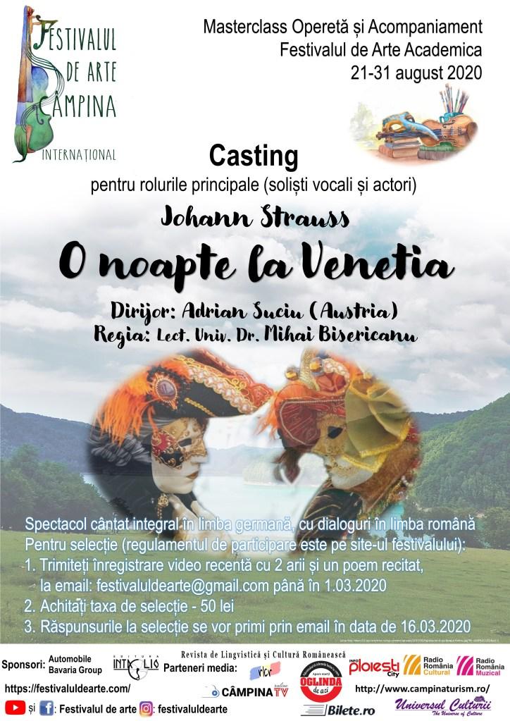 """Afiș - casting pentru roluri principale in opereta """"O noapte la Veneția"""" de J. Strauss la Festivalul de Arte Academica"""