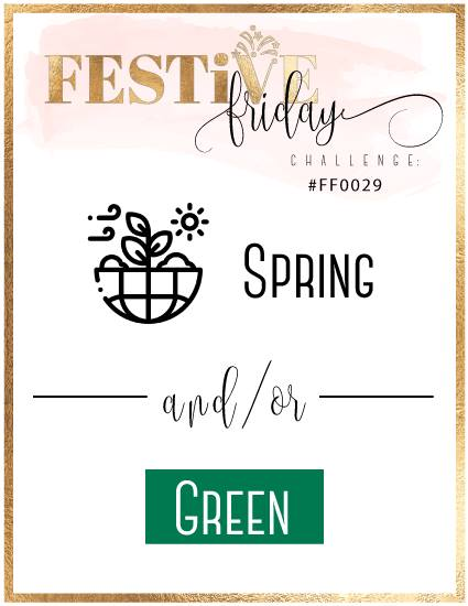 #FestiveFridayChallenge, #FF0029, Spring handmade cards, Green handstamped cards, Stampin Up