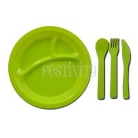Round Plastic Plates with Utensils (Set of 4)