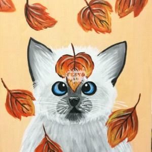 Őszi cicus otthoni élményfestő szett