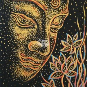Arany Buddha lótusszal otthoni élményfestő szett