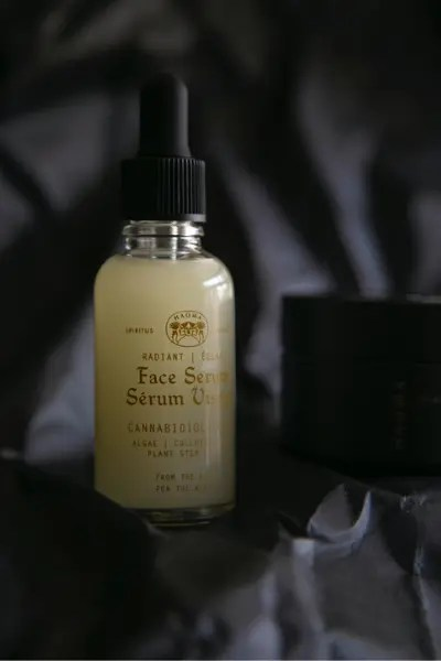 Labeled bottle of a natual skincare product