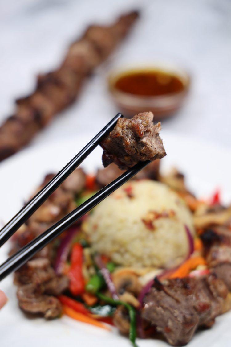 Kinesisk-inspirerte Grillspyd med Lynstekte Grønnsaker!