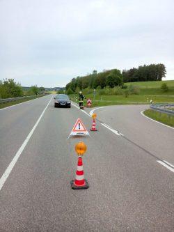 Verkehrsumleitung auf der Staatsstraße 2033 bei Rieblingen