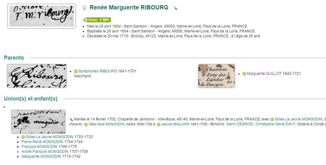Renée Marguerite RIBOURG, 1684-1710