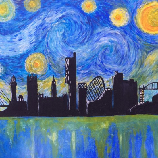 paint starry night over