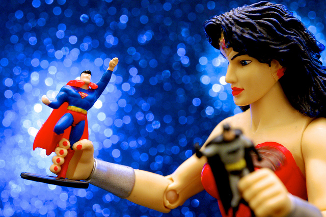 Wonder Woman, Batman, Superman - toys