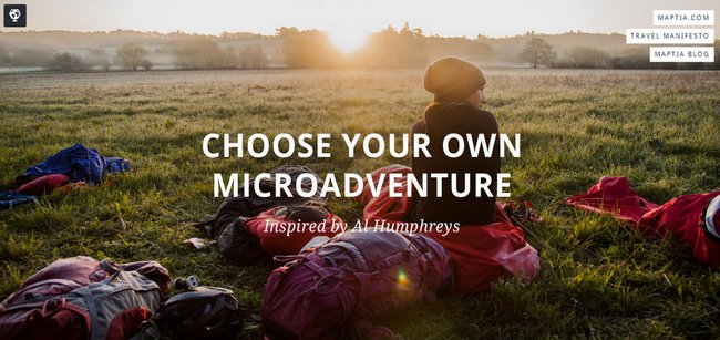 Microadventures - Alastair Humphreys, Maptia
