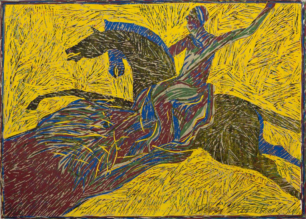 aslan avı 1994 50x70 cm. tahtabaskı
