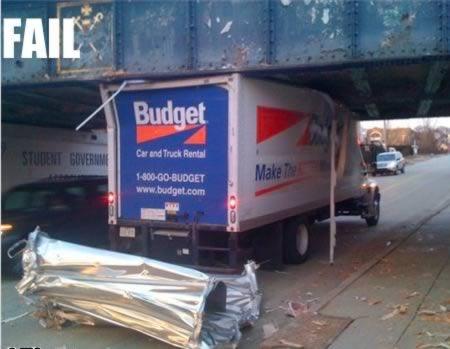 Moving Truck Stuck Under Bridge Fail