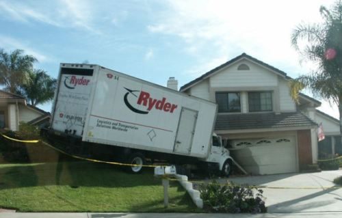 Moving Truck Crashes Into House Moving Fail