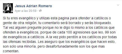 Mensaje de Jesús Adrián Romero en su Facebook